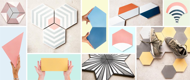 Mosaico hidráulico en forma hexagonal, losange, hexagonales large, ...