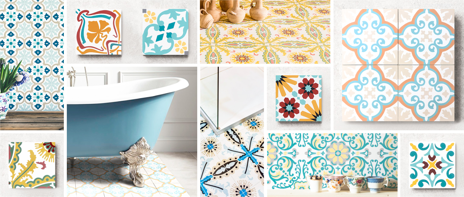 Cement tiles, ornament theme