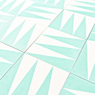 Modern cement tile – Pattern 10841 in white and light green