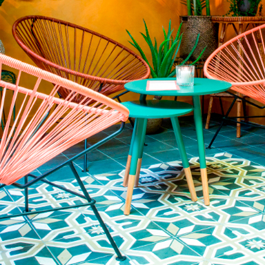 Blue morroccan tile floor at restaurant terrace at Haarlem, Netherlands