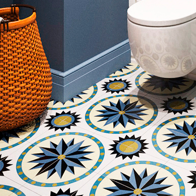 Encaustic cement tile bathroom design in Paris