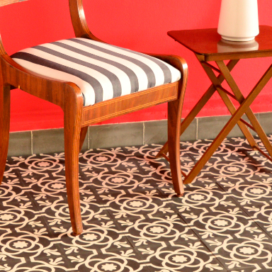 Classic encaustic tile floor on a terrace in Madrid