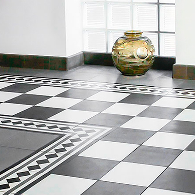 Black and White encaustic tiles in luxurious house in London