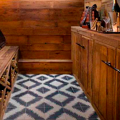 Black & white encaustic tiles in luxurious wine cellar at Seville