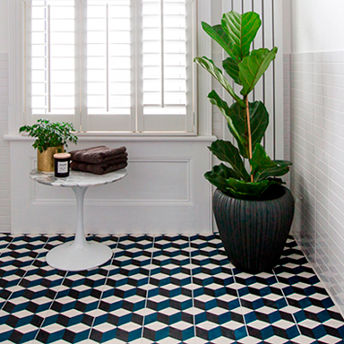 Morroccan cement tiles in modern bathroom setting