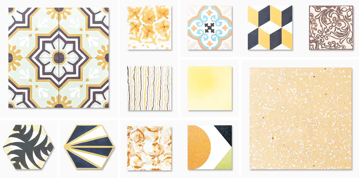 Cement tiles yellow mosaic factory